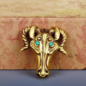 旧藏银鎏金羊首挂饰