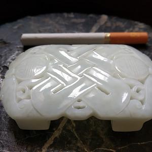 清中期 白玉雕福寿带扣