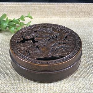 日本回流 铜器   仙鹤 盒子
