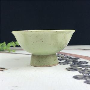日本回流 瓷器  青釉铁胎高脚杯