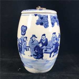 日本回流 瓷器  青花人物对弈图纹茶叶罐