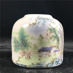 日本回流 瓷器  粉彩山水纹马蹄形小笔洗