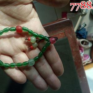 民国早期绿玛瑙雕手链一件