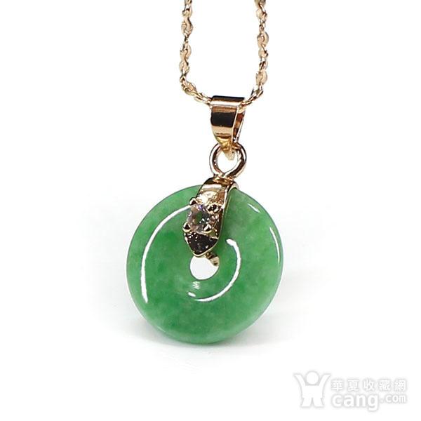 满绿翡翠平平安安挂件 银扣0110图2
