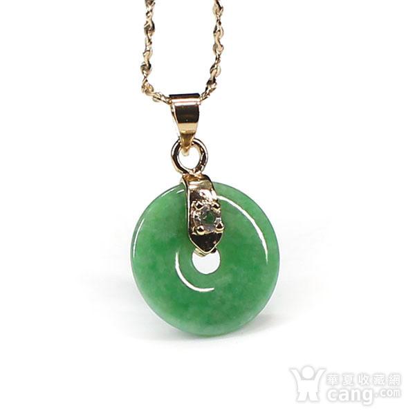 满绿翡翠平平安安挂件 银扣0110图5