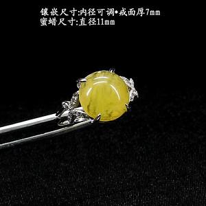 天然蜜蜡戒指 银镶嵌8851