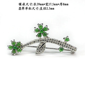 冰种阳绿翡翠胸针挂件两用5341