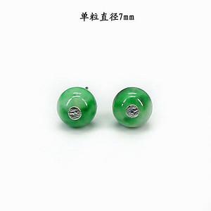翠绿翡翠圆珠耳饰 银镶嵌1395