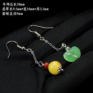 冰种苹果绿翡翠蜜蜡南红耳饰 银镶嵌0181