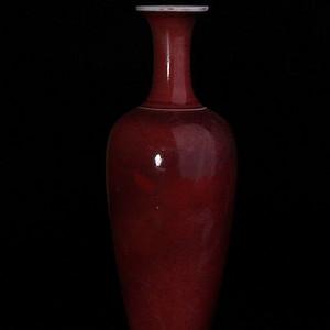 清康熙官窑祭红釉柳叶瓶
