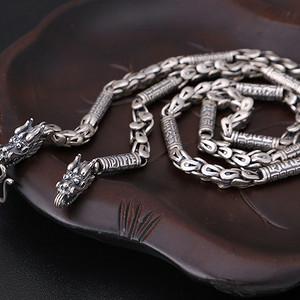 复古泰银 霸气个性龙头龙鳞男士项链