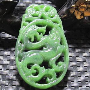 清和田碧玉菠菜绿 龙佩 双面镂空透雕 包浆熟厚