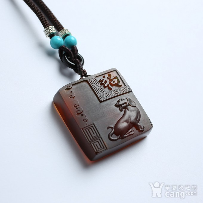 棕红缅甸琥珀生肖狗吊坠 22KQ01图3