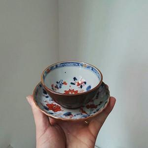乾隆 外紫金釉 内青花矾红花卉蝶杯一套
