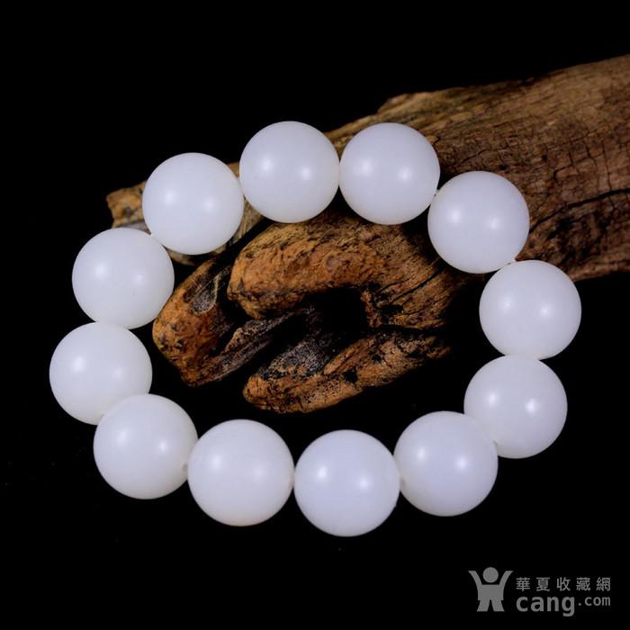 新疆和田玉籽料羊脂白玉圆珠手链图4