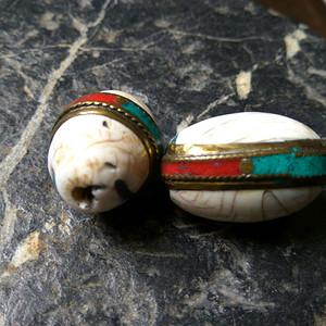 藏传砗磲嵌银老佛珠