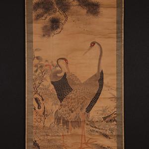 清民老画,双鶴图