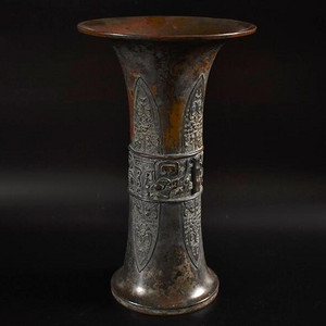 重器,民国,饕餮纹尊式铜花觚