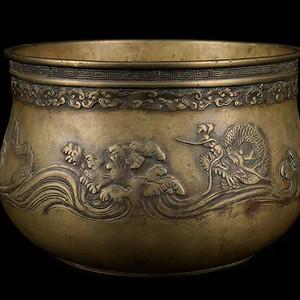 清晚期,海水盘龙纹钵式炉