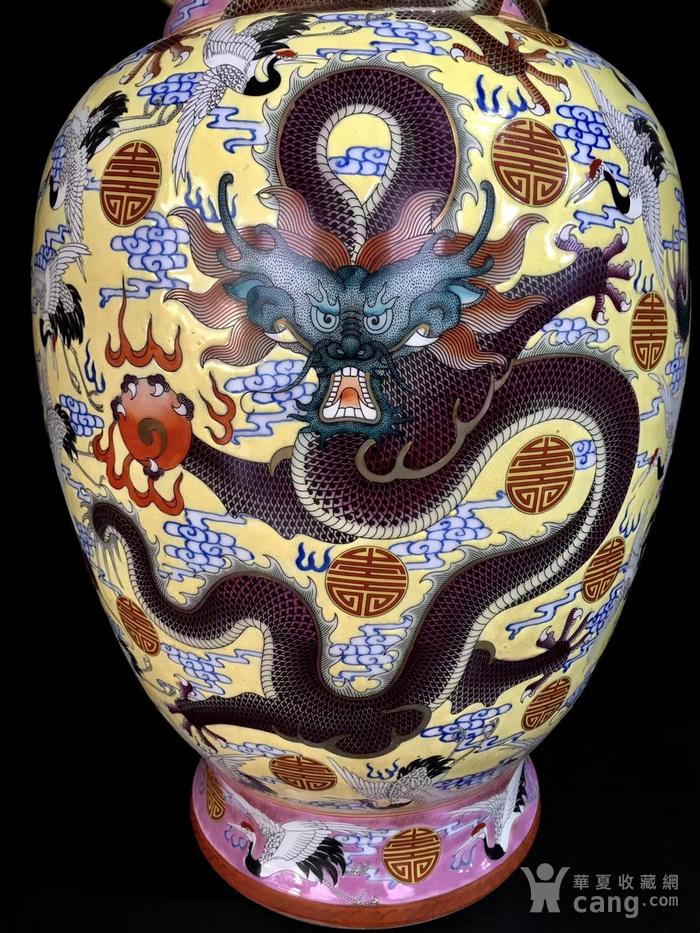精品本金珐琅彩五龙寿字纹象耳瓶一对图4