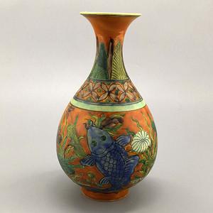 素三彩鱼藻纹玉壶春瓶