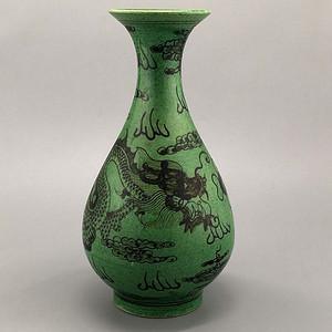 民窑绿釉龙纹玉壶春瓶