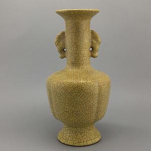 哥瓷金丝铁线双耳瓶