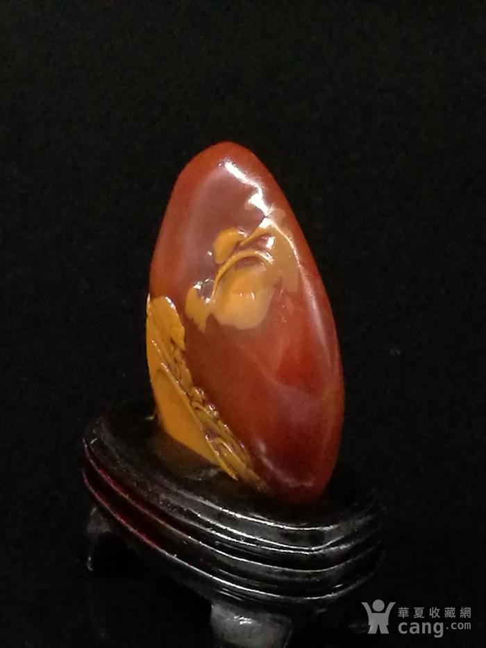 寿山石田黄石薄意浮雕摆件6 石质温润 萝卜纹隐隐可见图3