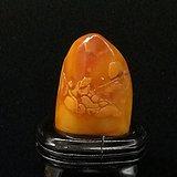 寿山石田黄石薄意浮雕摆件62 石质温润 萝卜纹隐隐可见