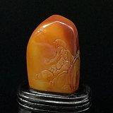 寿山石田黄石薄意浮雕摆件63 石质温润 萝卜纹隐隐可见