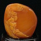 寿山石田黄石薄意浮雕摆件888 石质温润 萝卜纹隐隐可见