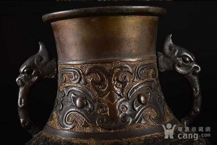 清晚民国,饕餮纹龙耳花瓶图4