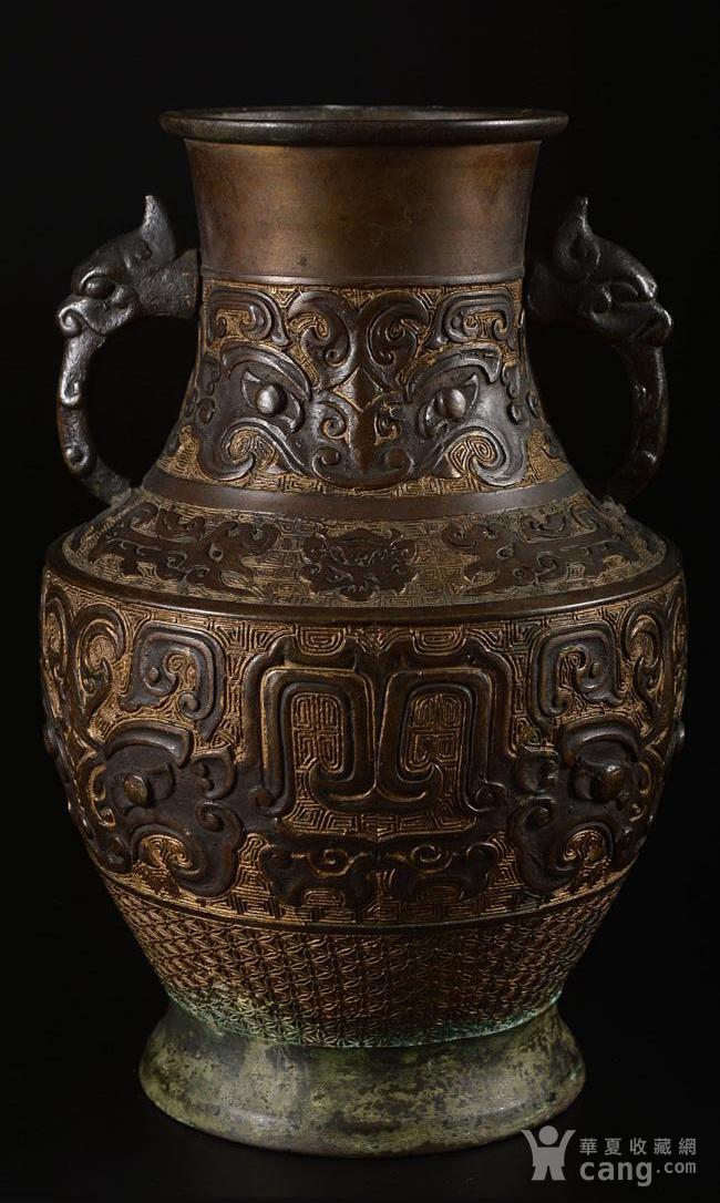 清晚民国,饕餮纹龙耳花瓶图1