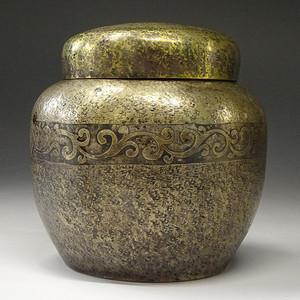 铜镏银,茶叶罐