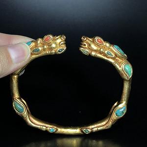 欧洲回流 珍贵旧藏鎏金嵌宝石手镯一只