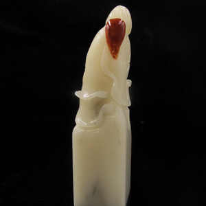 收藏精品 寿山羊脂地白芙 结晶体芙蓉大印章 印面27mm
