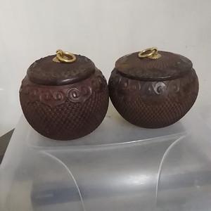 一对木雕围棋罐