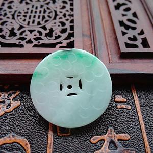 天然A货冰种带绿精雕平安扣吊坠