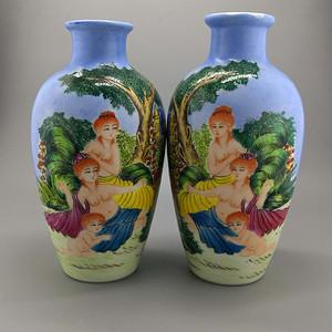 外销瓷珐琅彩西洋人物纹瓶一对
