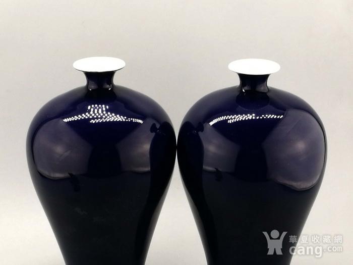 单色釉霁蓝釉梅瓶一对图2