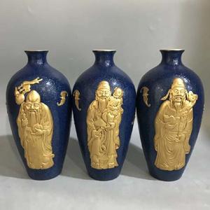 精品本金浮雕霁蓝釉爬花福禄寿梅瓶一套