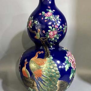 精品本金珐琅彩浮雕花开富贵纹葫芦瓶