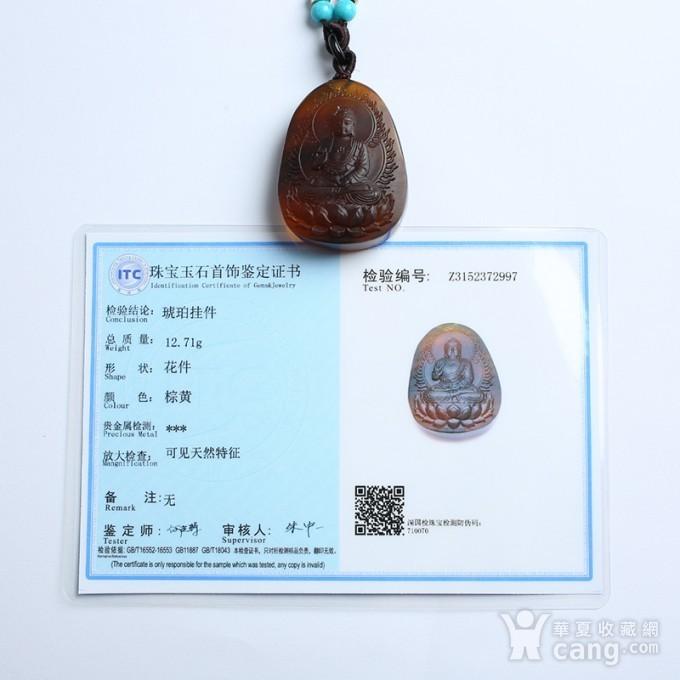 棕红缅甸琥珀阿弥陀佛吊坠 22KQ02图11