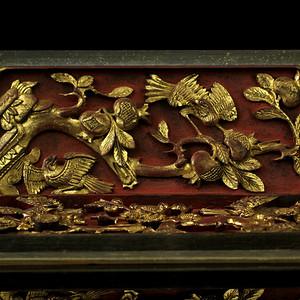 4清描金花鸟纹木雕花板一对