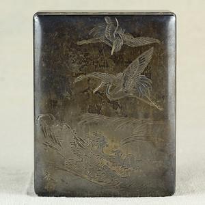 19清紫檀包银刻松鹤纹盖盒