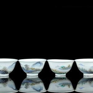 22民国粉彩山水纹杯四只