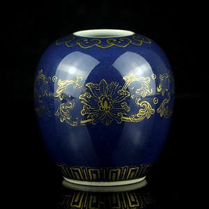 24清乾隆霁蓝釉描金缠枝莲纹水盂