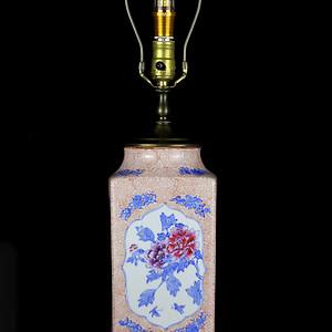 26老青花加彩花卉诗词纹棕式瓶台灯