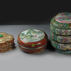 精品掐丝珐琅和鎏金累丝盒三个