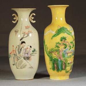 人物山水纹粉彩瓷塑瓶两个